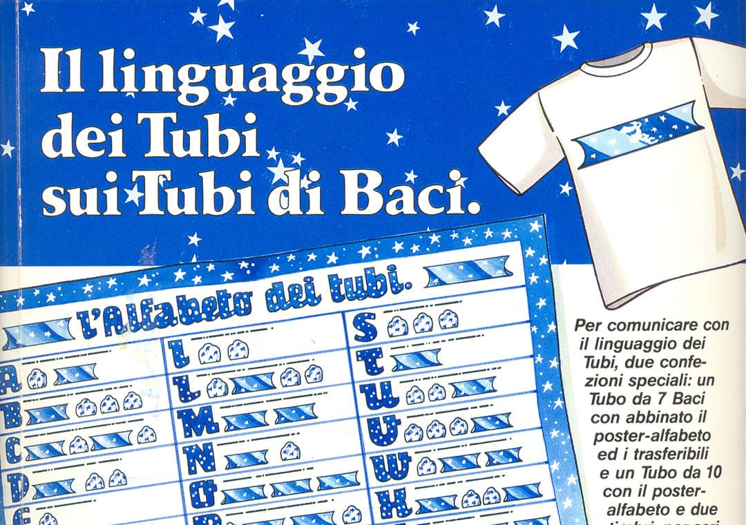 "Explanation of ""tubes"" languages on tuba Baci Perugina"
