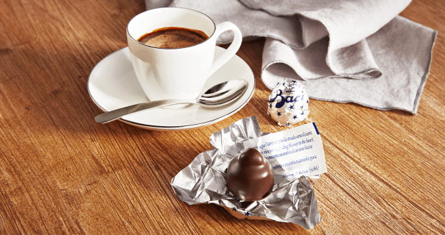 Baci Perugina with coffee