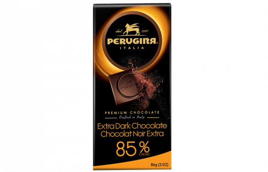 A tablet of dark chocolate with 85% cacao by Perugina