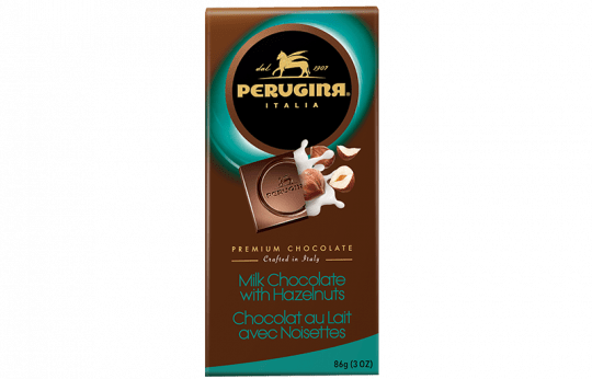 A tablet of milk chocolate with hazelnuts by Perugina