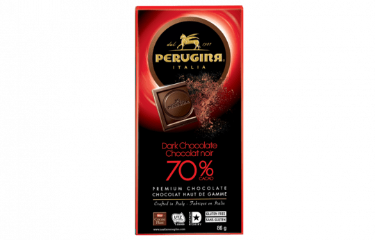 A tablet of dark chocolate with 70% cacao by Perugina