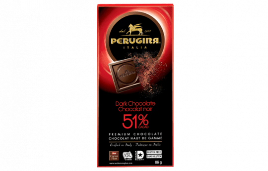 A tablet of dark chocolate with 51% cacao by Perugina