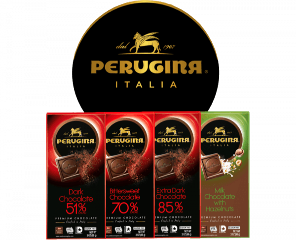 4 tablets of baci perugina with dark and milk chocolate