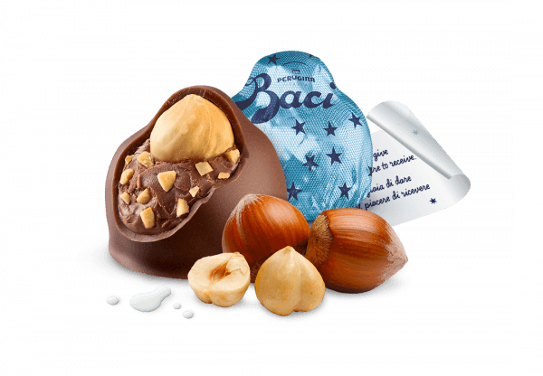 Ingredients and wrapper of Baci Milk