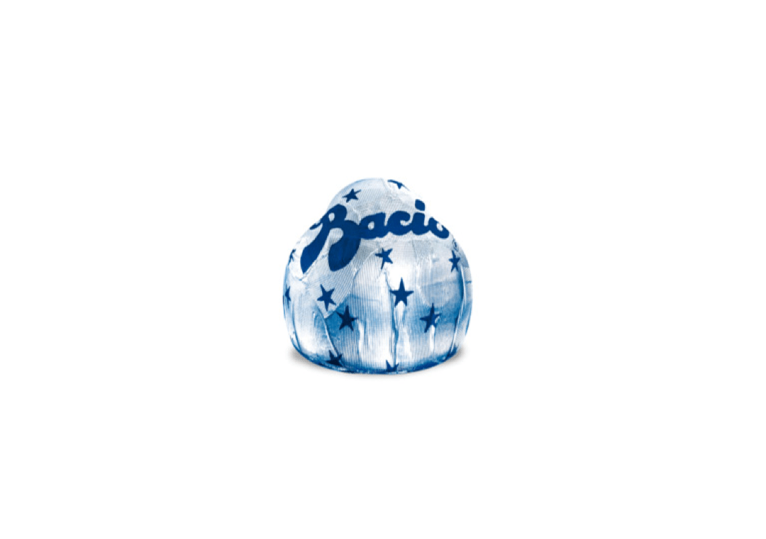 Elegant silver Baci wrapper with blue stars