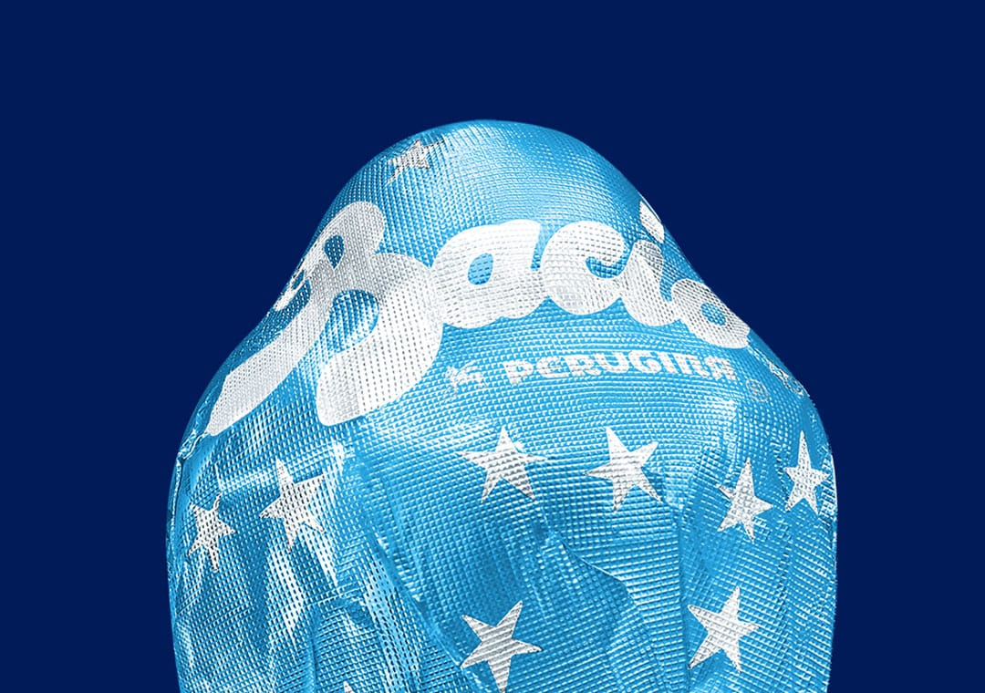 Baci Perugina milk chocolate in blue with silver stars wrapper