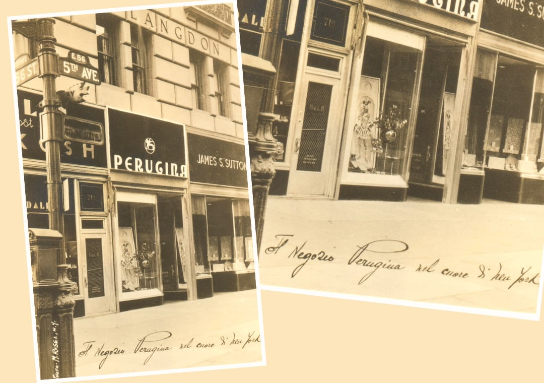 Black and white photo of first perugina store in New York