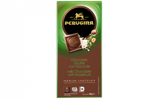 A tablet of milk chocolate with hazelnuts by Baci Perugina
