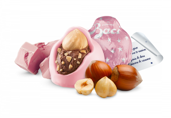 Ingredients and wrapper of Baci Limited Edition Ruby pink